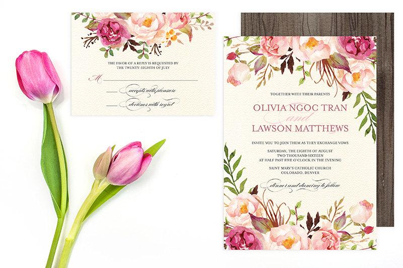 Fl Wedding Invitation Set Do It Yourself Printable Pink Peonies Roses Flower Invitations Rustic Bohemian Olivia