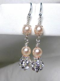 Champagne Pearl Bridal Earrings, Wedding Earrings