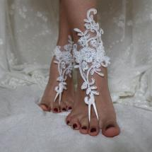 Ivory Lace Beach Wedding Barefoot Sandals