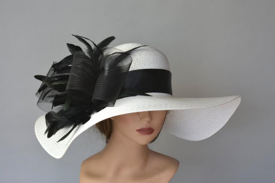 Off White Black Church Wedding Hat Kentucky Derby Hat