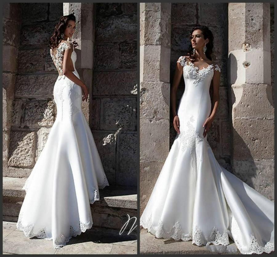 Graceful White Satin Mermaid Wedding Dresses Sheer Illusion Neck Back 2016 Modest Sweep Train