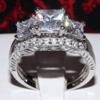 2.86ct 3 Stone Princess Cut Engagement Band Wedding Ring ...