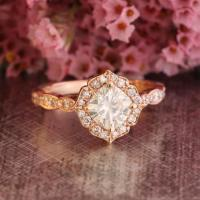 Mini Vintage Floral Moissanite Engagement Ring 14k Rose