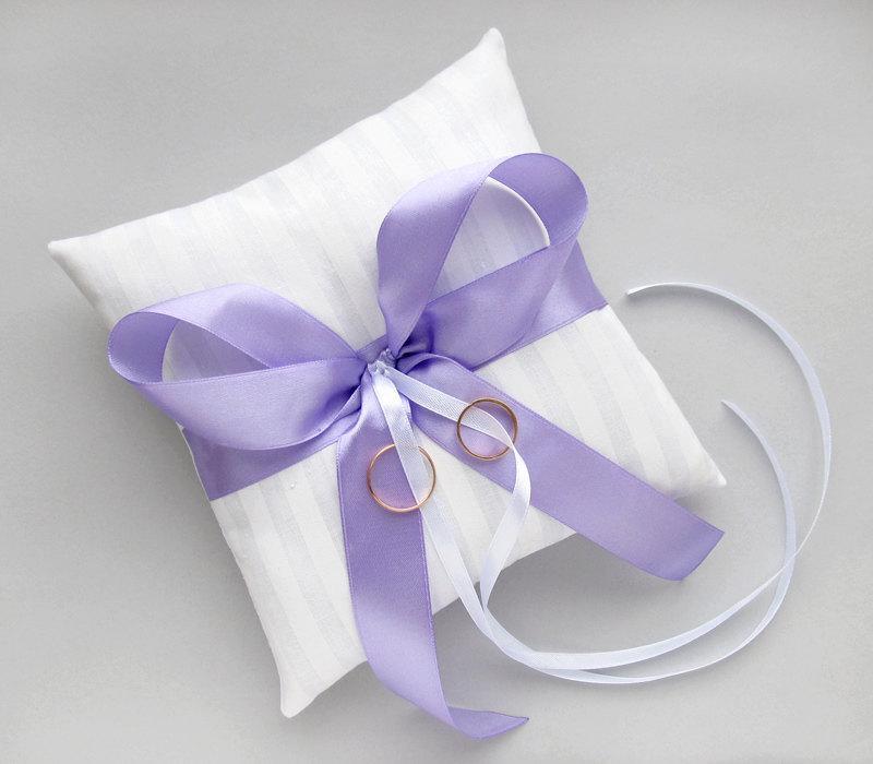 White Wedding Bearer Pillow, Purple Ring Cushion #2494955