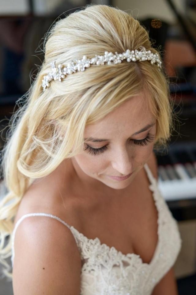 wedding headband, freshwater pearl cluster bridal headband