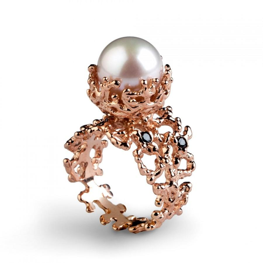 CORAL Black Diamond Ring, Rose Gold Engagement Ring, Pearl