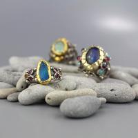 Raw Stone Ring, Blue Ring, Raw Opal Ring, Boho Wedding ...