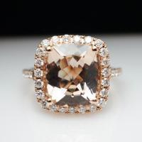 Cushion Cut Morganite Diamond Halo Engagement Ring 14k ...