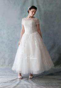 Vintage Tea Length Wedding Dresses With Sleeves - Wedding ...