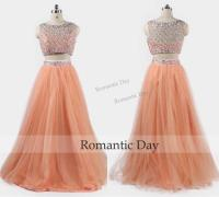 2016 Orange Bling Two Piece Prom Dresses Tulle Beaded ...
