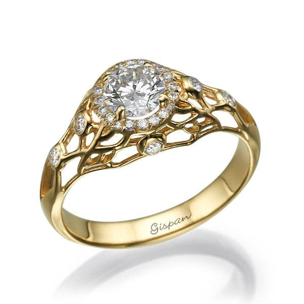 Unique Engagement Ring, 14k Yellow Gold Ring, Engagement