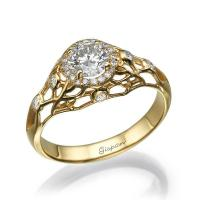 Unique Engagement Ring, 14k Yellow Gold Ring, Engagement ...