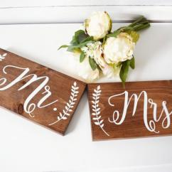 Mr And Mrs Chair Signs King Hours Wedding Sign Photo Prop Rustic Decor Table Wood Laurel