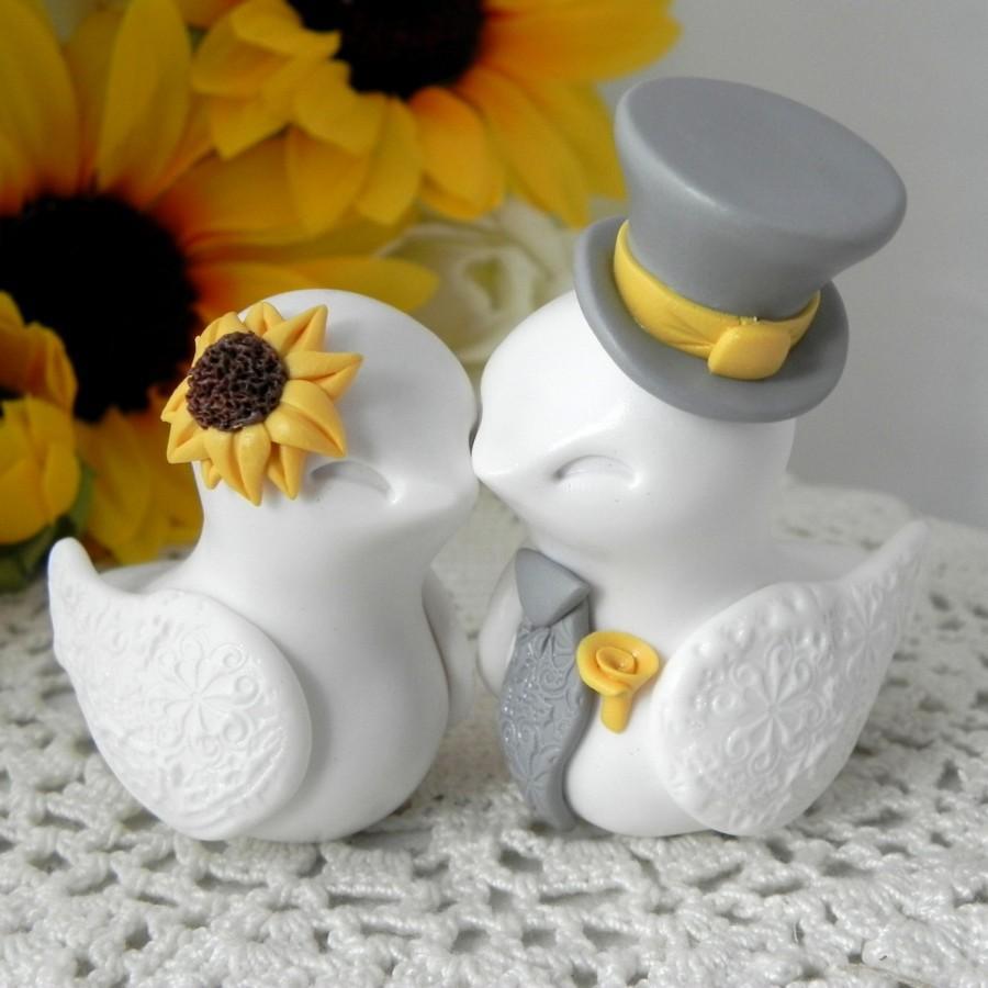 Love Birds Cake Topper Wedding Anniversary Sunflower