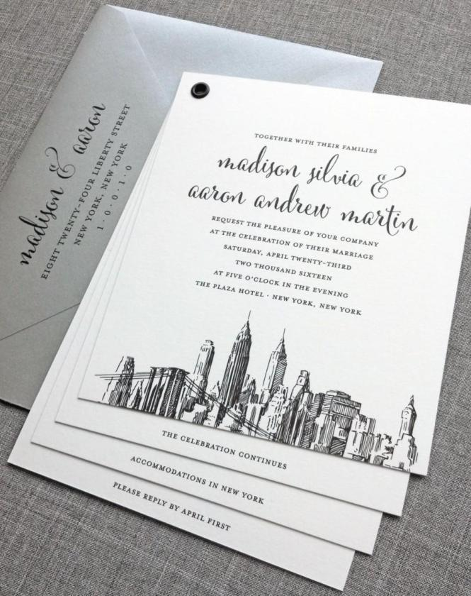 York Skyline Wedding Invitation Sample