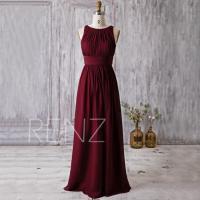 2016 Wine Red Bridesmaid Dress, Scoop Neck Wedding Dress ...