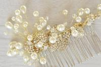 Gold Vine Hair Piece, Wedding Pearl Hair Piece, Vine Hair ...