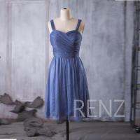 2016 Steel Blue Bridesmaid Dress, Double Straps Wedding ...