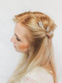 Leaf Hair Pins/ Swarovski Crystal Hair Pins/ Hair Pins ...