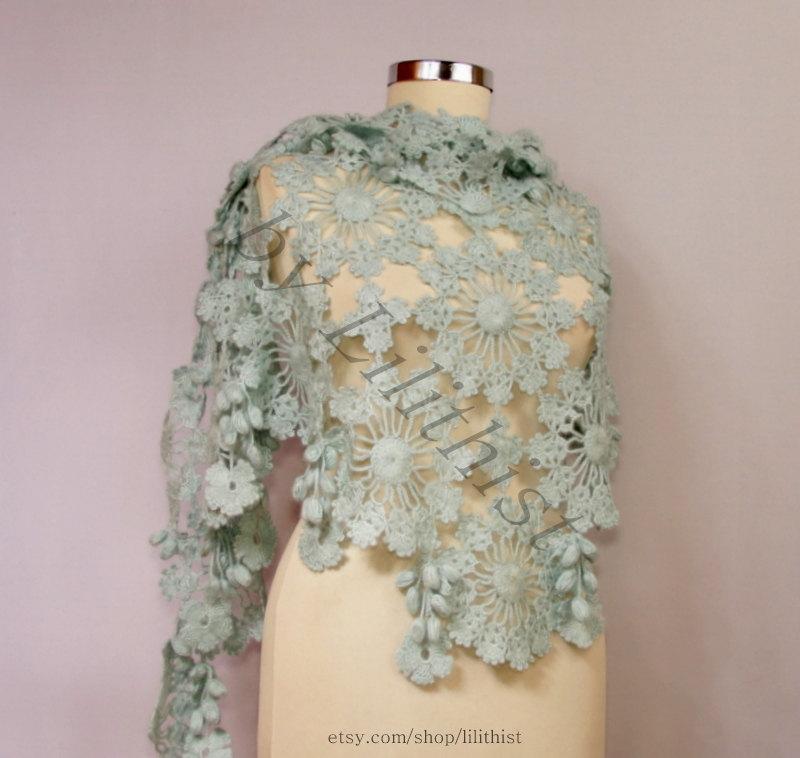 Aquamarine Shawl Crochet Shawl Wrap Flower Lace Shawl