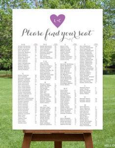Printable alphabetical wedding seating chart also weddbook rh
