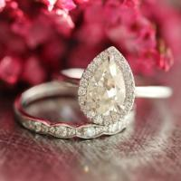 Moissanite Wedding Set Pear Engagement Ring And Scalloped