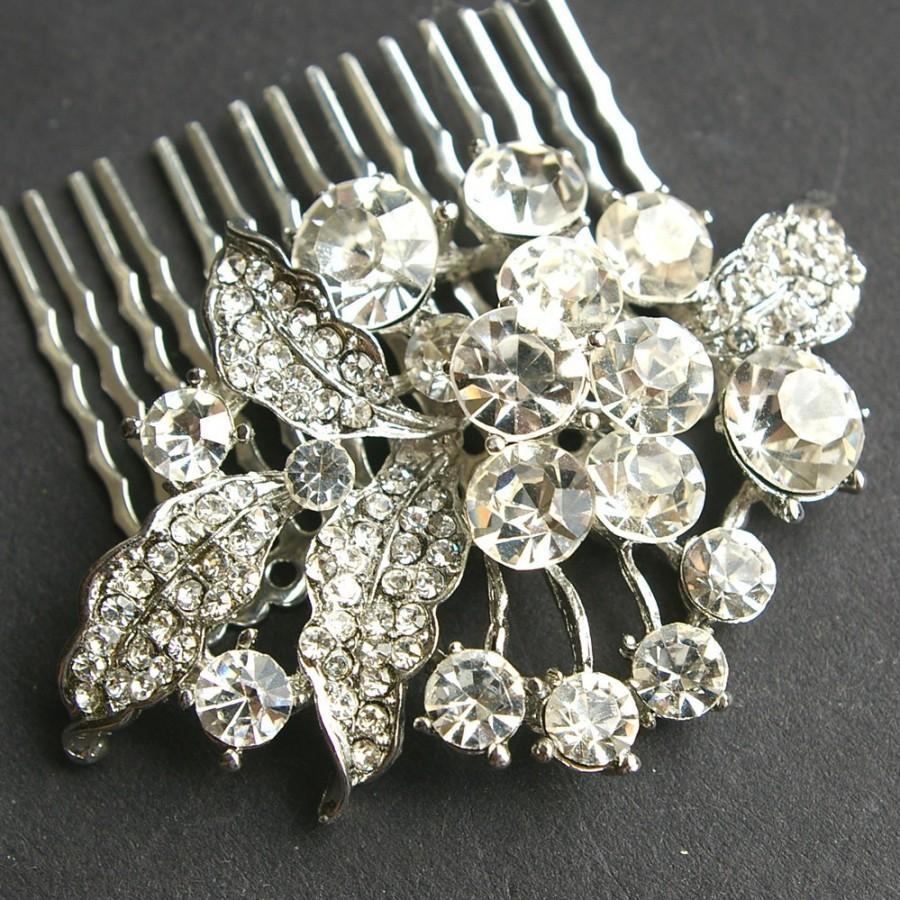 Rhinestone Vintage Bridal Hair Comb, Crystal Wedding Hair
