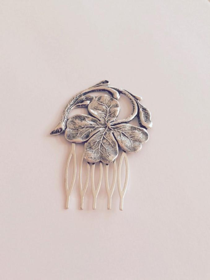 silver irish clover hair comb irish bridal hair pin four