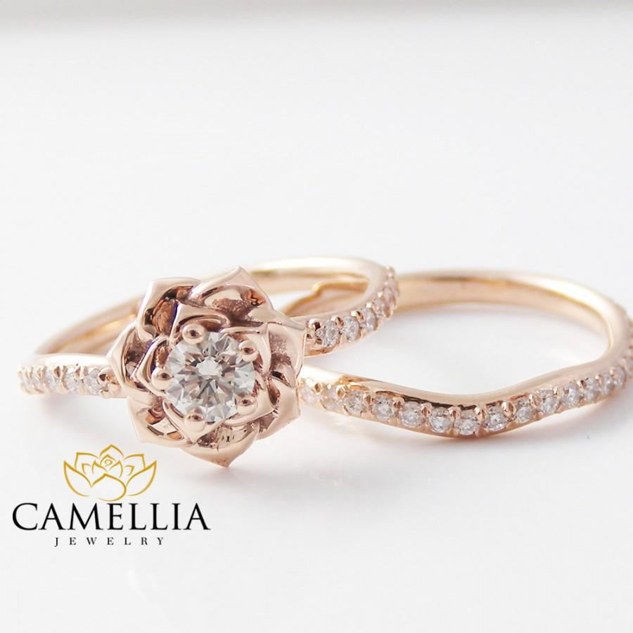 14K Rose Gold Diamond Engagement Ring Set Rose Gold Flower
