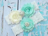 MINT Wedding Garter, Mint Wedding Garter Set,Bridal Garter