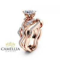 Moissanite Engagement Ring Set Leaf Engagement Rings 14K ...