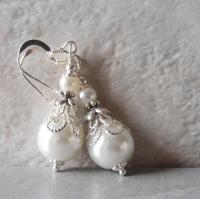 White Pearl Earrings Pearl Bridal Earrings Beaded Wedding ...
