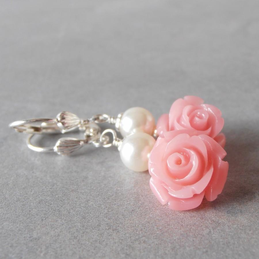 Coral Pink Flower And Pearl Dangle Earrings Bridesmaid