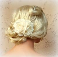 Ivory Flower Hair Clip, Ivory Fascinator, Gardenias