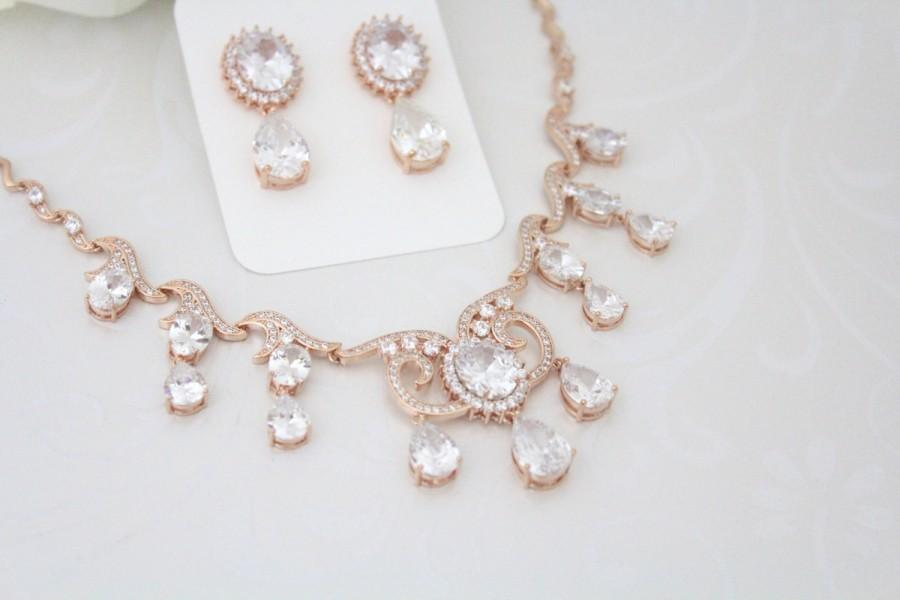 Rose Gold Necklace And Earring Set 14k Rose Gold Lebanese