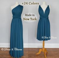 Teal Convertible Bridesmaid Dresses, Wrap Dress, Infinity ...