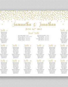 Personalized printable wedding seating chart digital print ready template gold glitter sparkles confetti dots also rh weddbook