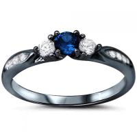 Black Gold Three Stone Wedding Engagement Ring 1.3CT Round ...