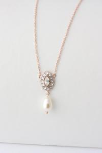 Simple Wedding Jewelry Rose Gold Pendant Bridal Necklace ...