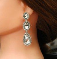 Crystal Bridal Earrings, Wedding Earrings, Long Rhinestone ...