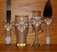 Rustic Wedding Champagne Flute And Beer Glass With Cake