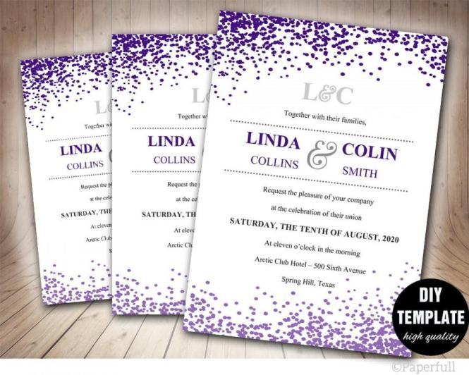 Confetti Wedding Invitation Printable