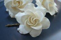 Ivory Flower Gardenia, Bridal Flower Hair Pin, Wedding