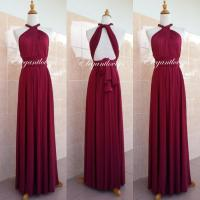 Convertible Dress Maroon Wedding Dress Bridesmaid Dress ...