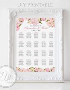 Pink peonies roses wedding seating chart rustic digital files diy printable juliet white background also rh weddbook
