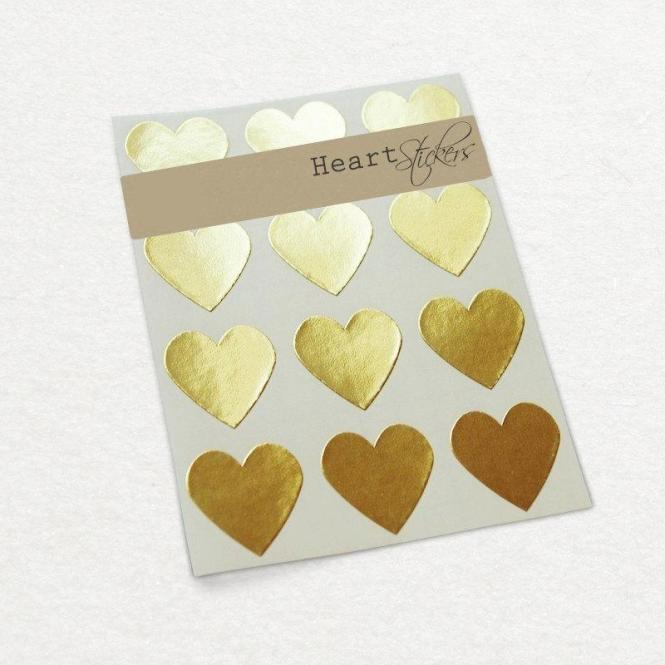 Gold Heart Sticker Wedding Invitation Gift Wrap Seal