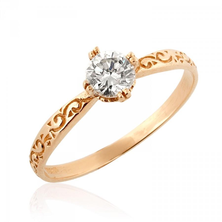 Rose Gold Engagement Ring, 18K Rose Gold Ring, Solitaire