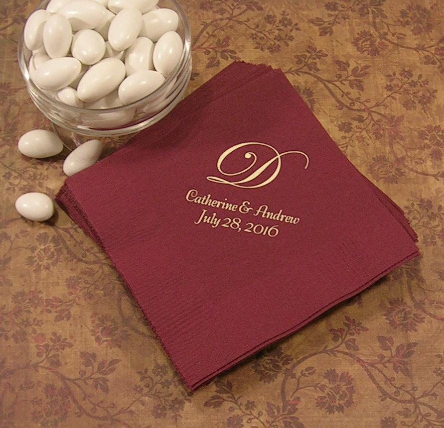 Monogram Napkins Wedding Napkins Personalized Personalized