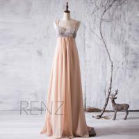 2016 Tan Bridesmaid Dress Long, Silver Sequin Neck ...