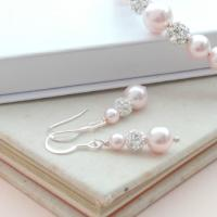 Ella Blush Pink Pearl Drop Earrings Wedding Jewellery Baby